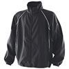 black coaching jacket with white piping detail