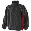 black coaching jacket with red panel and white piping detail
