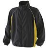 black coaching jacket with yellow panel and white piping detail