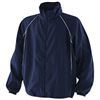 navy coaching jacket with  white piping detail