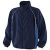 black coaching jacket with royal blue panel and white piping detail