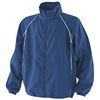 Royal blue coaching jacket with  white piping detail
